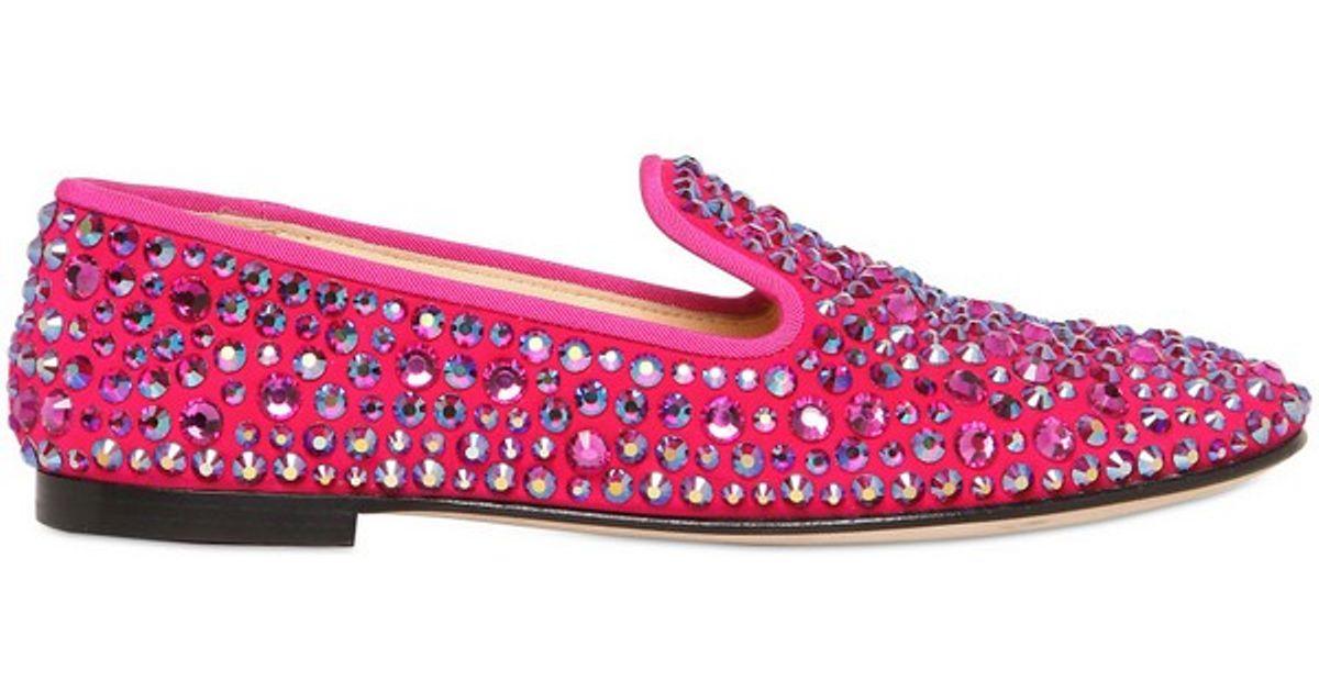 a84f2e03cf6 Giuseppe Zanotti Suede Swarovski Loafers in Pink - Lyst