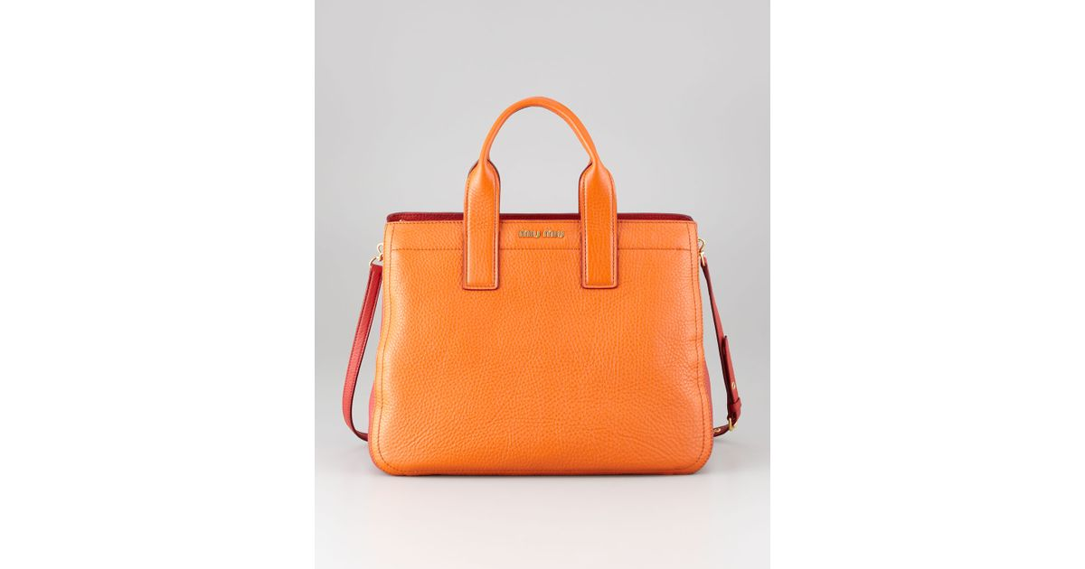 8dcabb8e5987 Lyst - Miu Miu Vitello Bicolore Satchel Bag Papayarosso in Orange