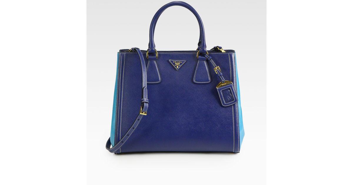ed64e2134077 ... inexpensive lyst prada saffiano lux bicolor ew tote in blue f09a9 f8943  ...