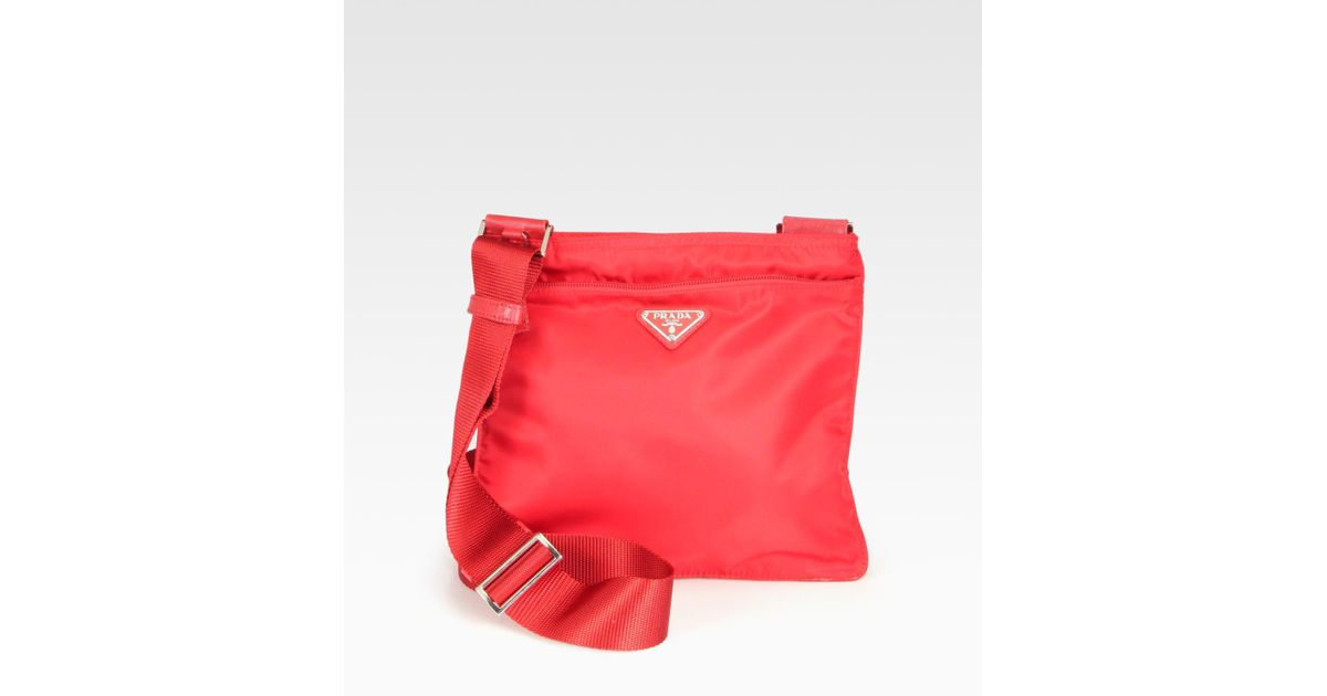 ee98fa7389 ... greece lyst prada nylon messenger bag in red b9326 1f246