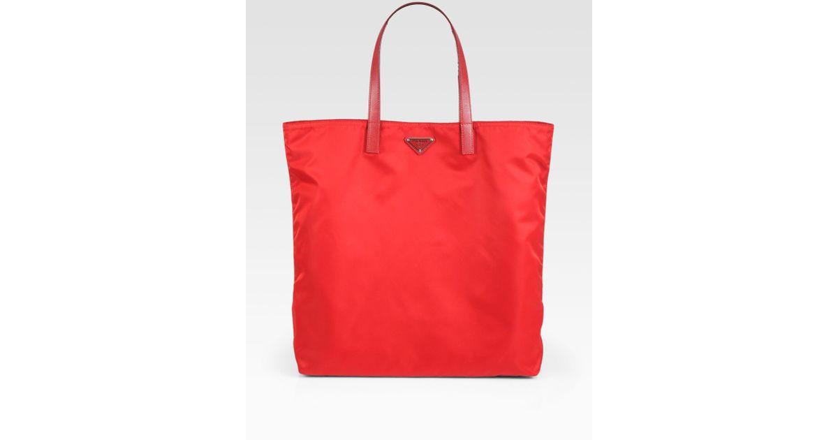 43f9e856d635 ... promo code lyst prada vela nylon tote bag in red 7c3f1 5a81a