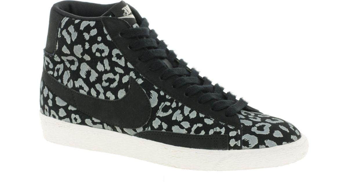 Lyst - Nike Blazer Mid Black Leopard Print Trainers in Black dd4d4b0ac346