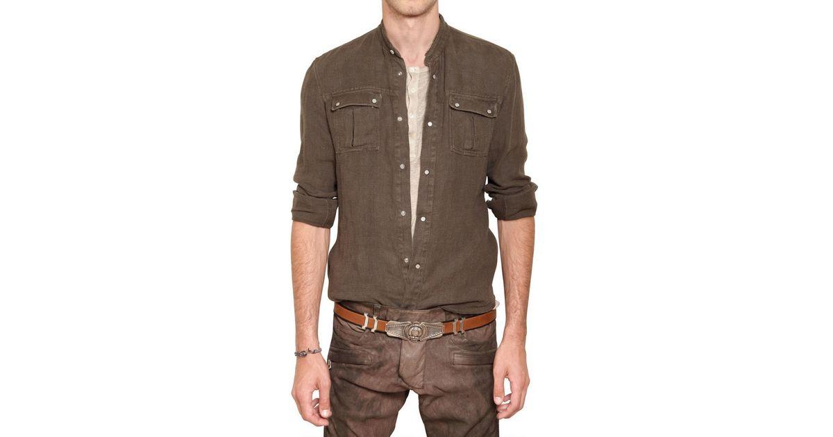 e6f5406f Balmain Linen Canvas Military Shirt in Natural for Men - Lyst