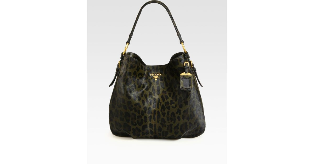 da896228b6aa Prada Cavallino Leopard Print Hair Calf Hobo in Black - Lyst