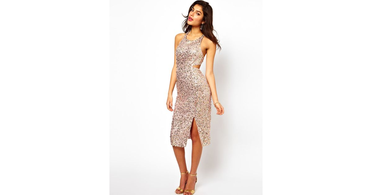 7aada2dc6cc5 ASOS Collection Holographic Sequin Dress in Pink - Lyst