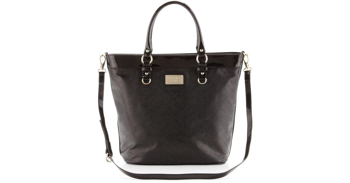 b487822cdbb Lyst - Versace Jeans Patent Trim Tote Bag in Black