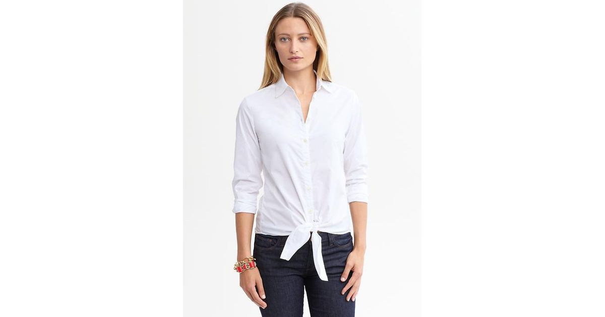 be6c15eeece2f9 Lyst - Banana Republic Tiefront Blouse in White