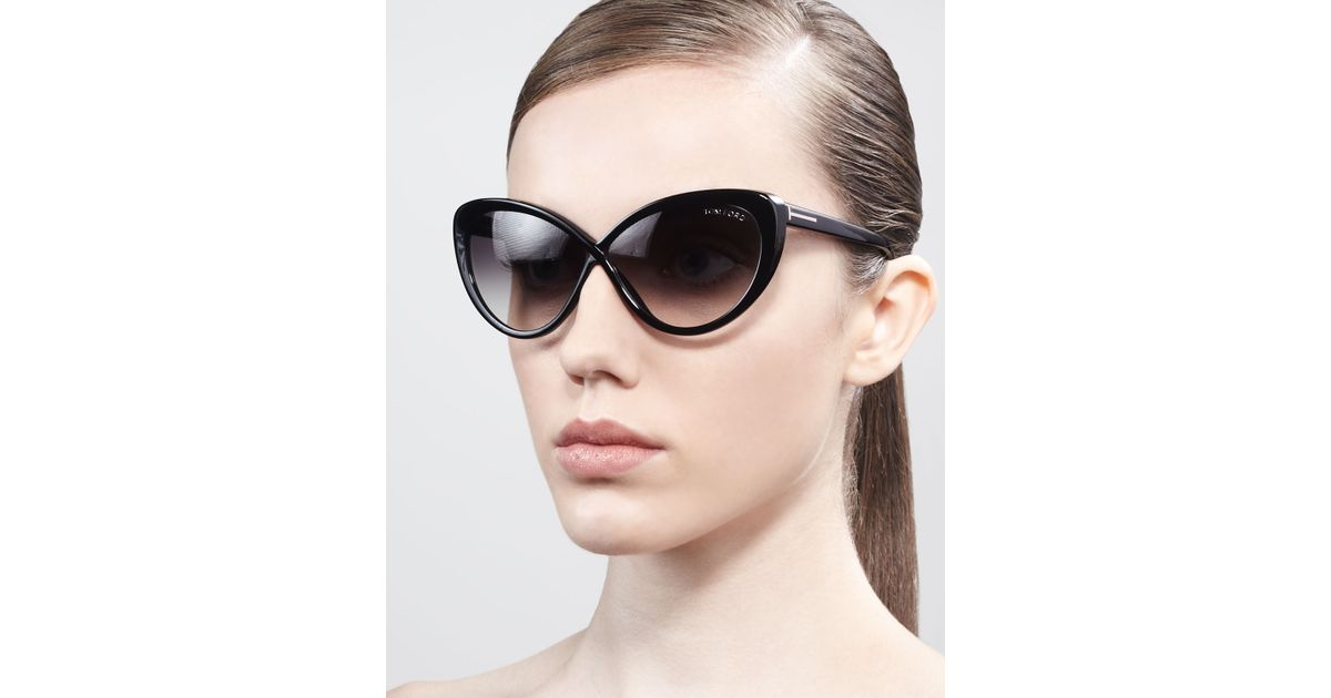 aeb9c31d733 Lyst - Tom Ford Madison Oversized Cateye Sunglasses in Black