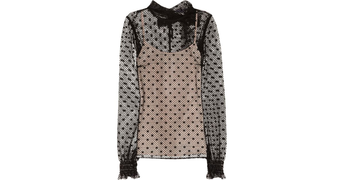 906b7f7517befe RED Valentino Polkadot Tulle Blouse in Black - Lyst