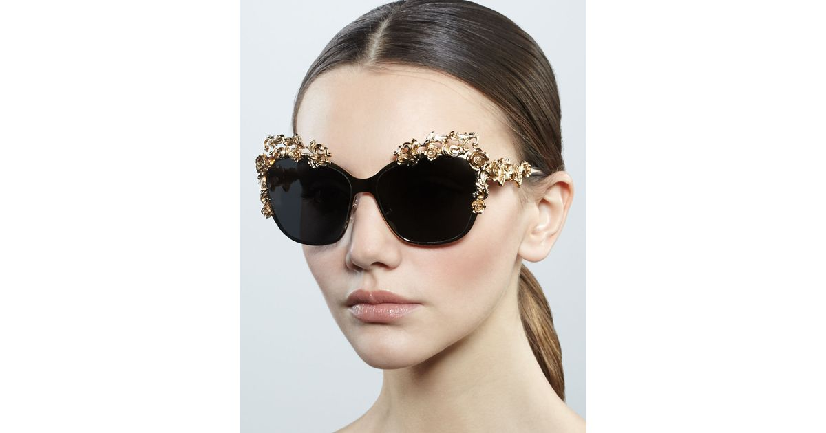595247a9fb5 Lyst - Dolce   Gabbana Baroque Flower Square Sunglasses in Metallic