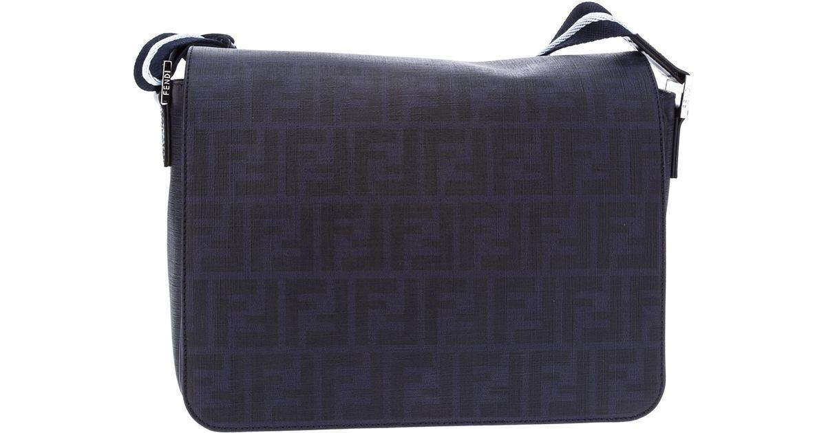 b8cfc5aa25 Fendi Zucca Messenger Bag in Blue for Men - Lyst