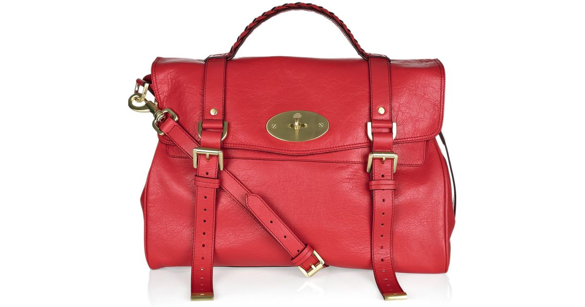 6543b7db47 ... new zealand lyst mulberry oversized alexa leather bag in red 7ee38 fe781