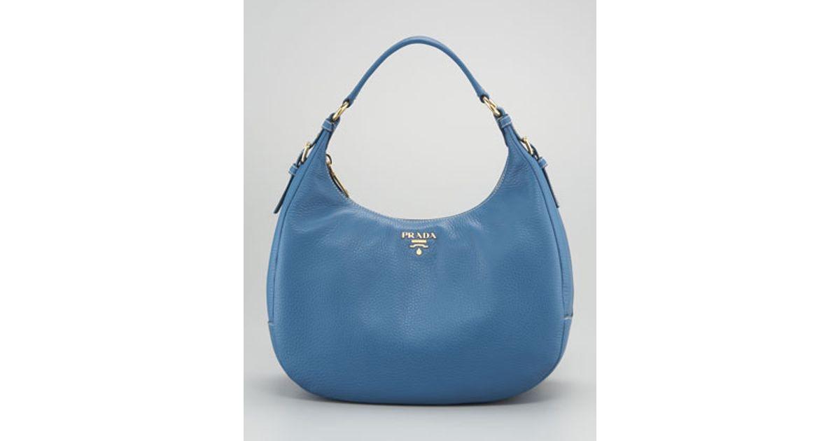 037eef115377 Lyst - Prada Vitello Daino Ziptop Hobo Bag in Blue