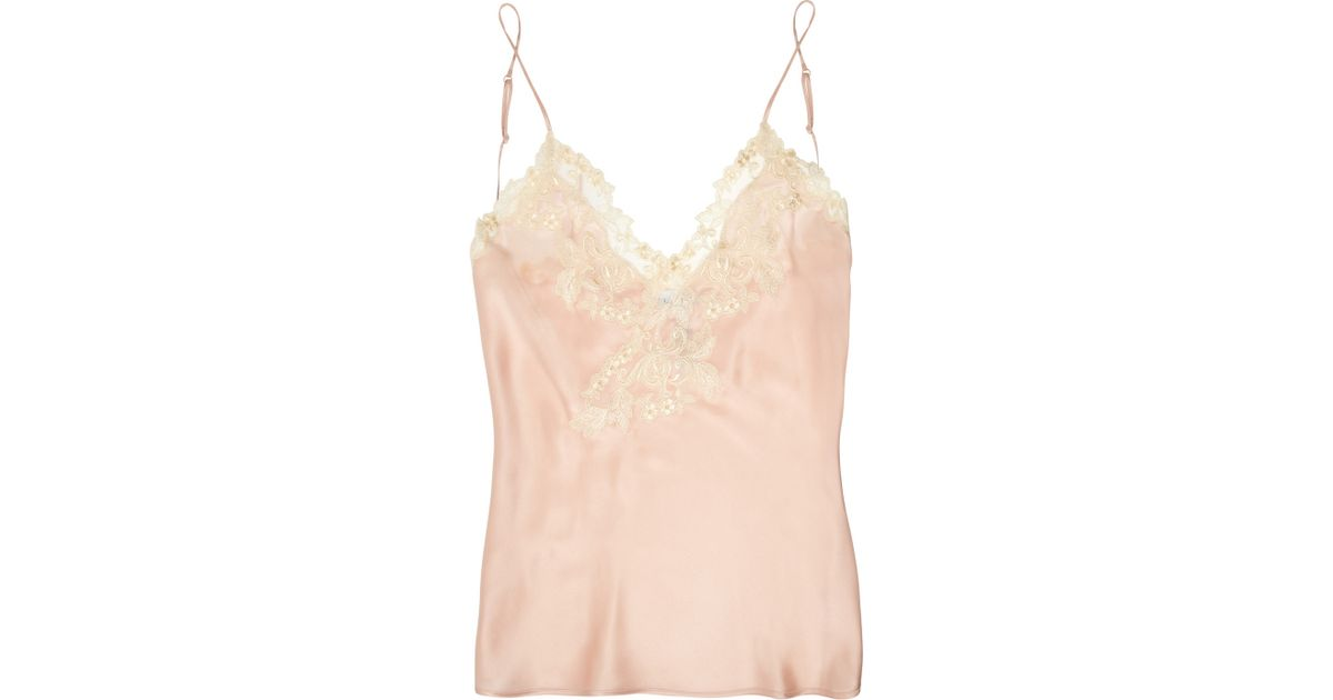 9c7b8b71894 La Perla Maison Lace-trimmed Silkblend Satin Camisole in Pink - Lyst