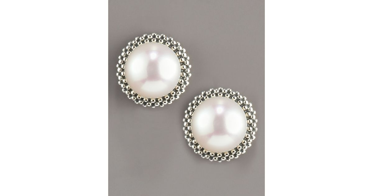 Lagos 8 5mm Pearl Caviar Earrings In White Null Lyst