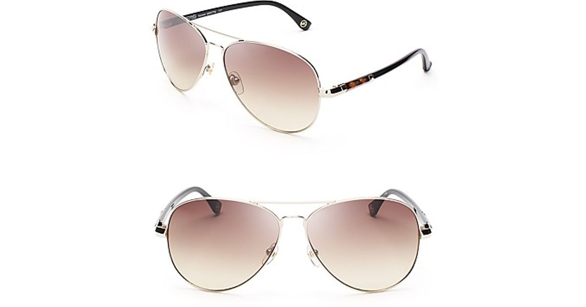 2e18ea2d1737f Lyst - Michael Kors Karmen Aviator Sunglasses in Metallic