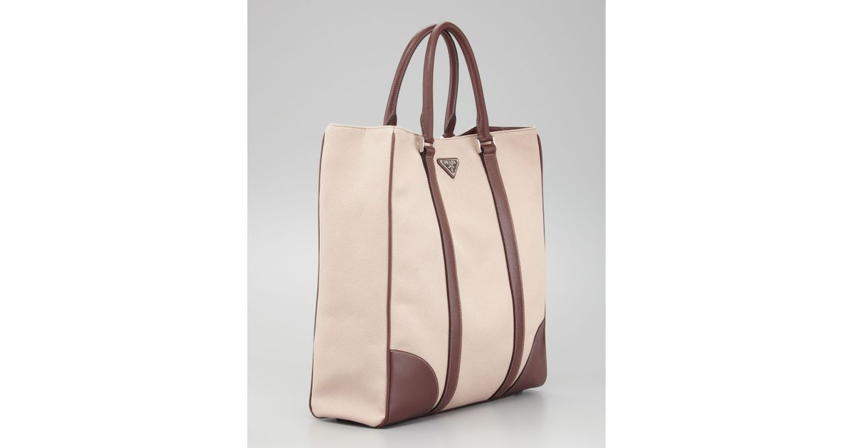 687e08ee47 Lyst - Prada Canvas Leather Tote Bag in Natural for Men