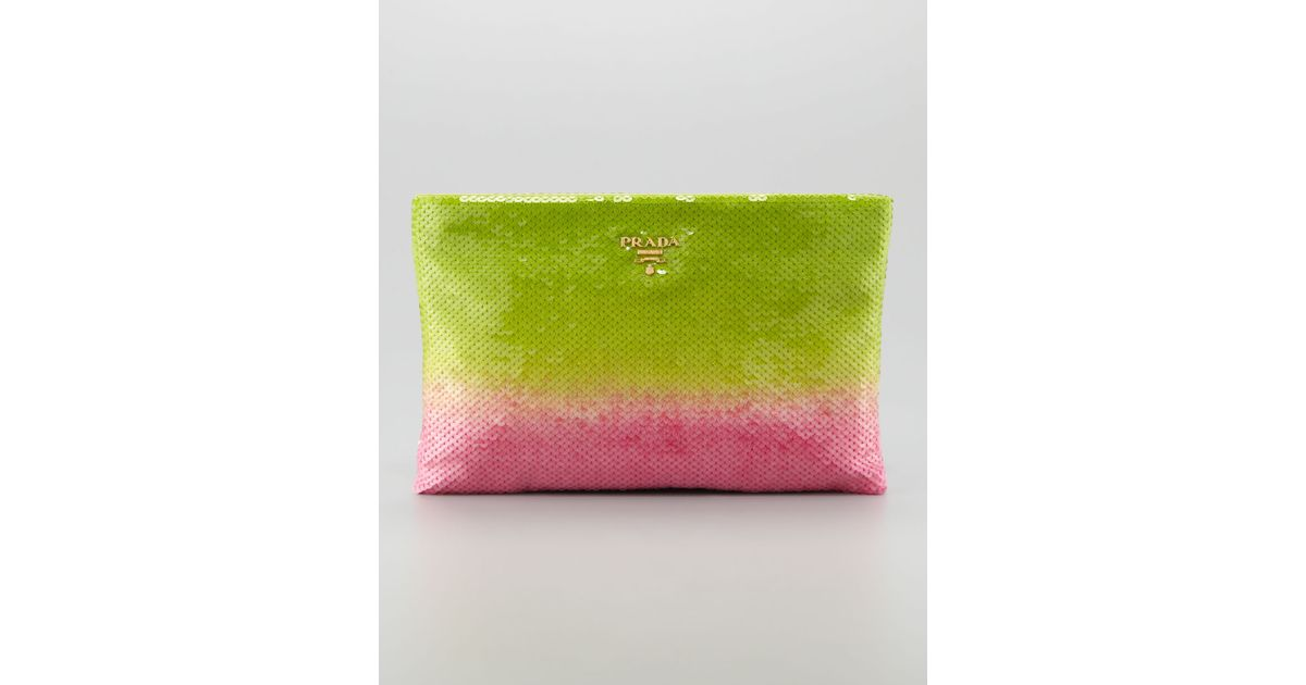 fake prada bags - Prada Degrade Sequin Pouch Clutch Bag in Pink (green pink) | Lyst