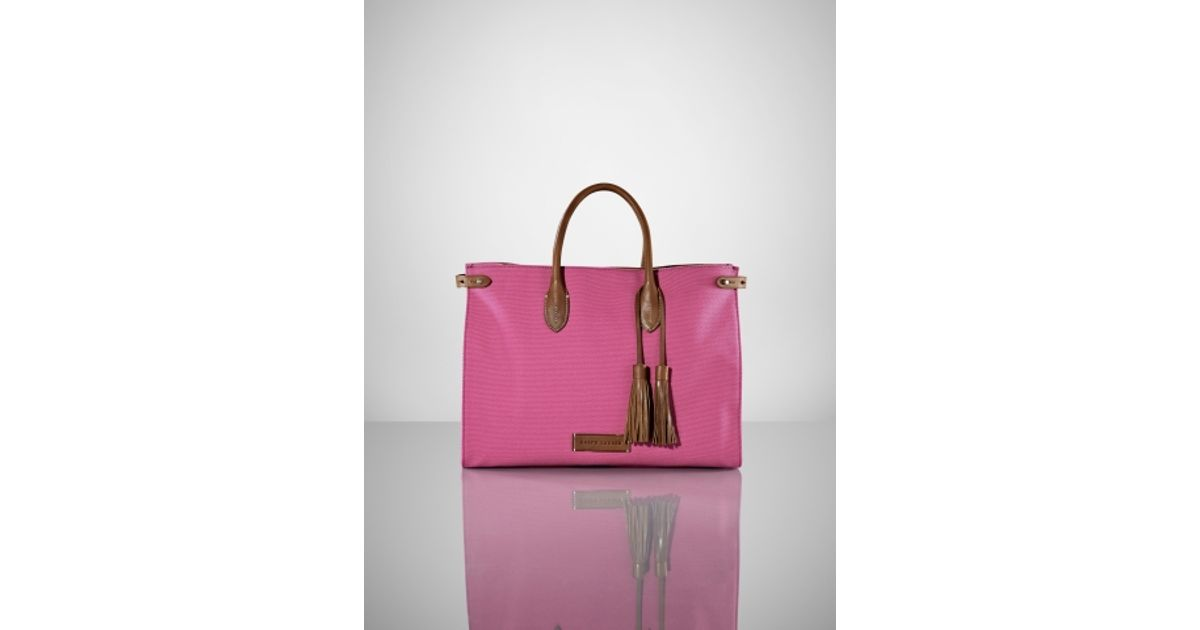 ... Ralph Lauren Canvas/Leather Large Handbag Pink ...