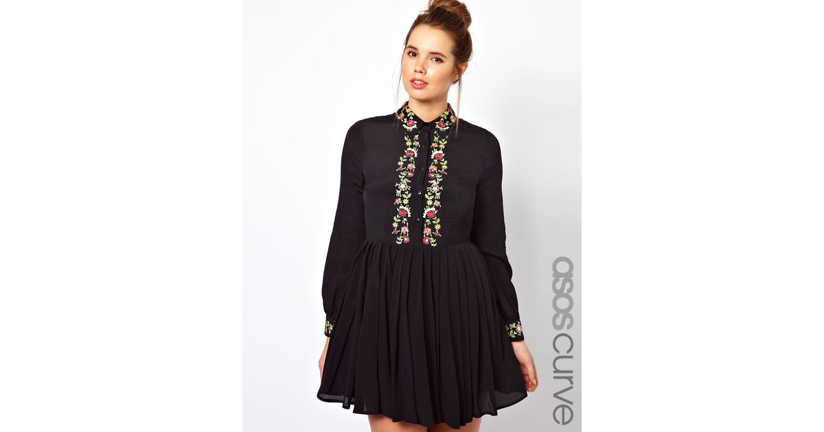 a247fd68842f0 Lyst - ASOS Shirt Dress with Floral Embroidery in Black