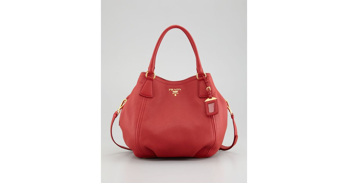 4b66a6035f01 ... coupon code for lyst prada vitello daino tote bag in red 56533 333d2