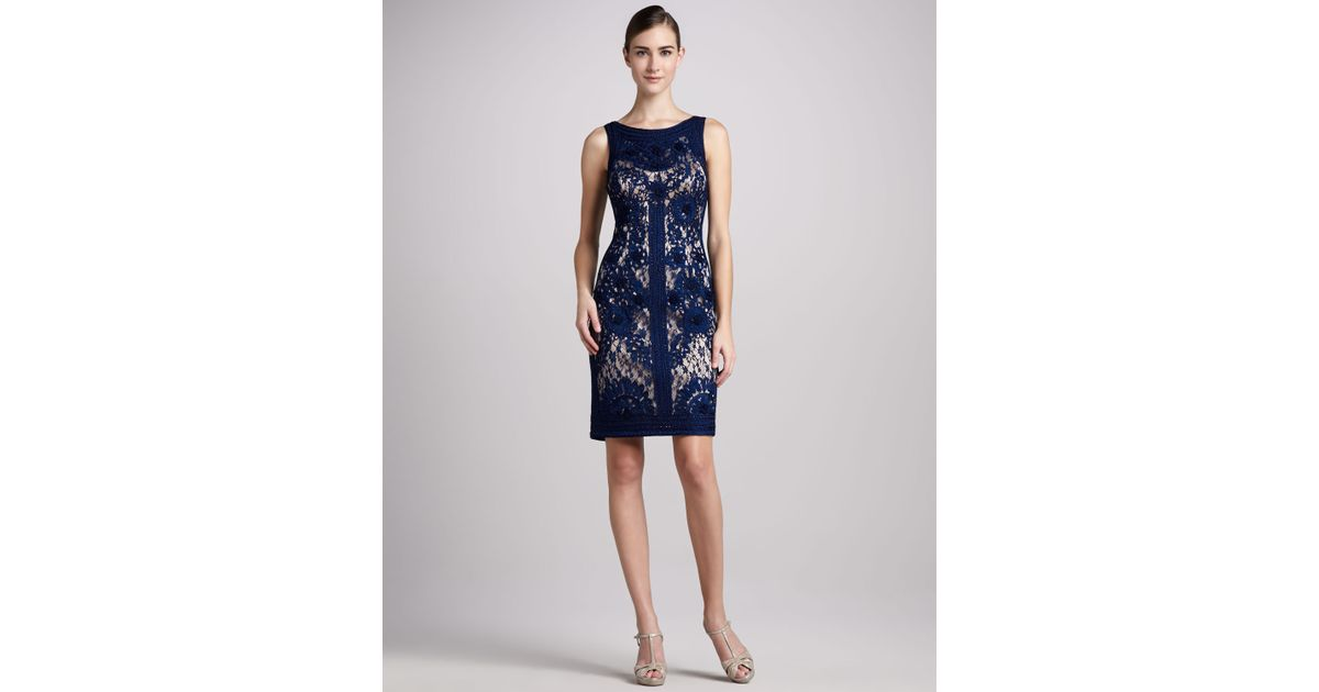 66f85a37d9bca Lyst - Sue Wong Sleeveless Lace Cocktail Dress in Blue