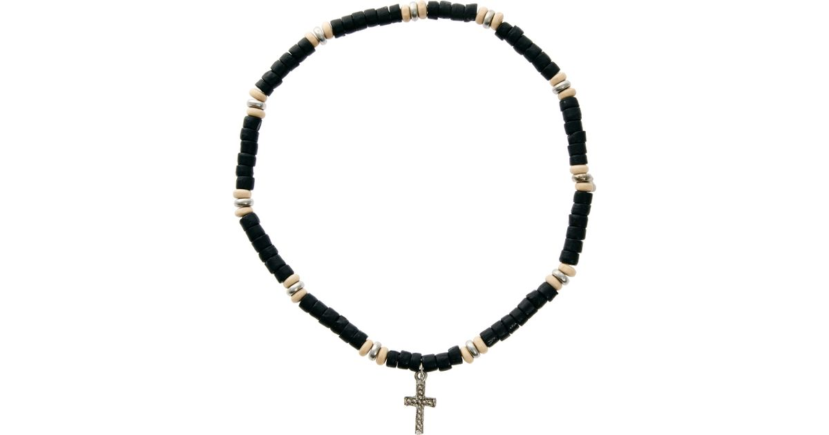 Lyst asos asos beaded cross necklace in black for men aloadofball Choice Image