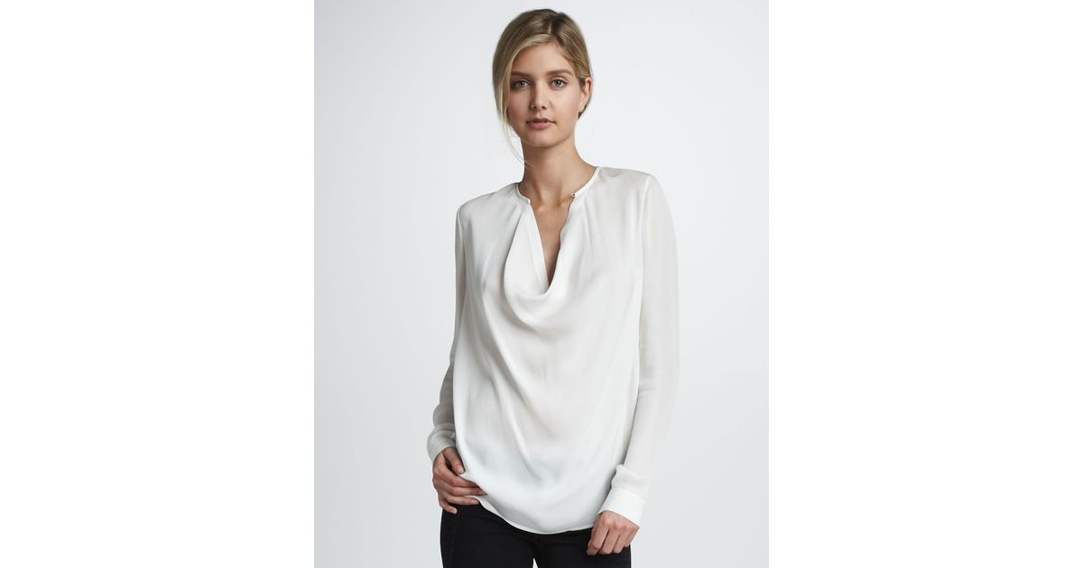 3aa9cfbed9457f Lyst - Vince Silk Cowl Neck Top in White