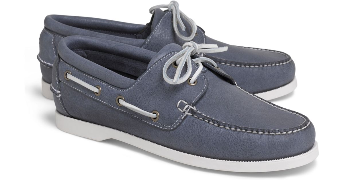 318f302e5ce Lyst - Brooks Brothers Washed Leather Boat Shoes in Blue for Men