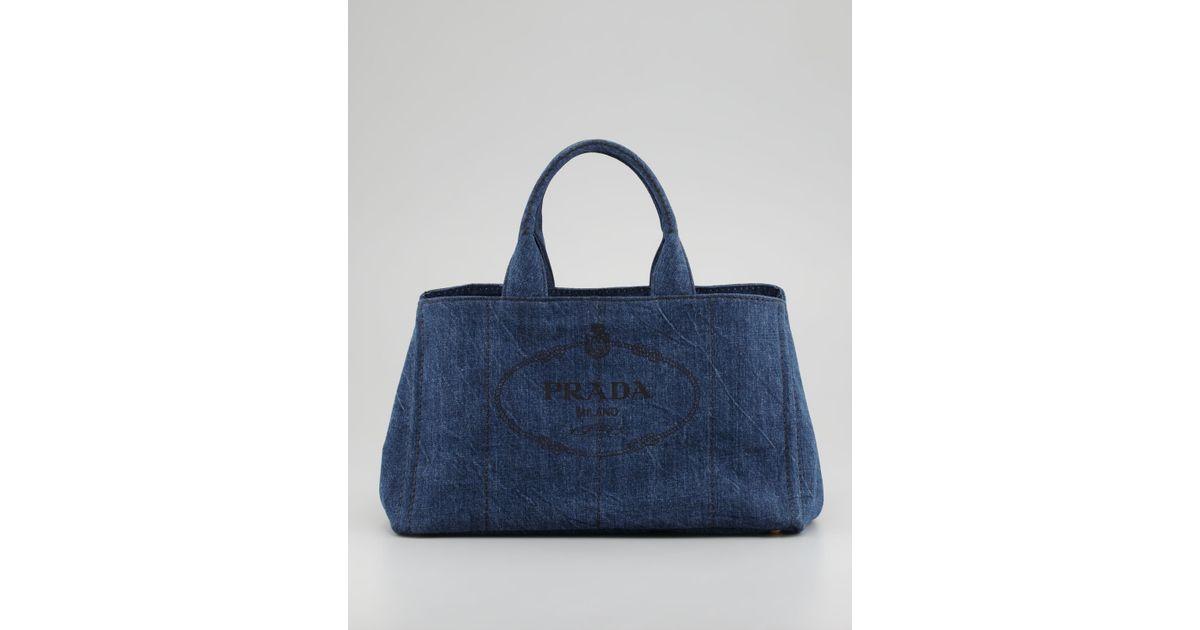 48d90ba0d Prada Denim Small Gardeners Tote Bag in Blue - Lyst
