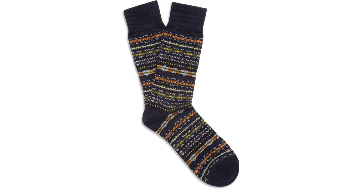 Beams plus Fair Isle Socks in Blue for Men | Lyst