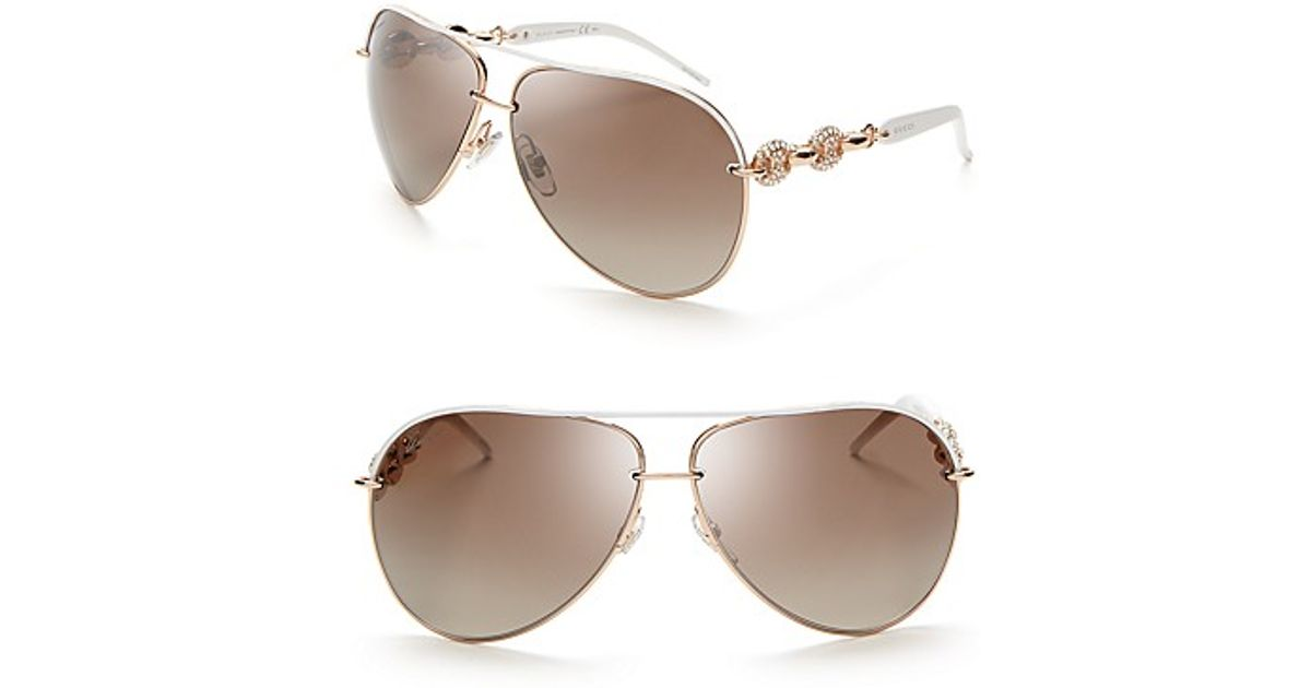 ef3bda8e254c Gucci Chain Link Aviator Sunglasses with Crystals in Brown - Lyst