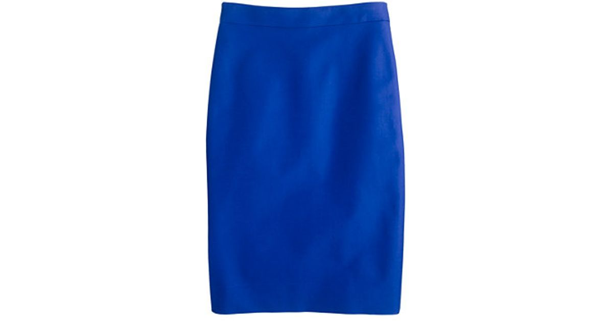 d14b9aba93 J.Crew No 2 Pencil Skirt in Doubleserge Cotton in Blue - Lyst