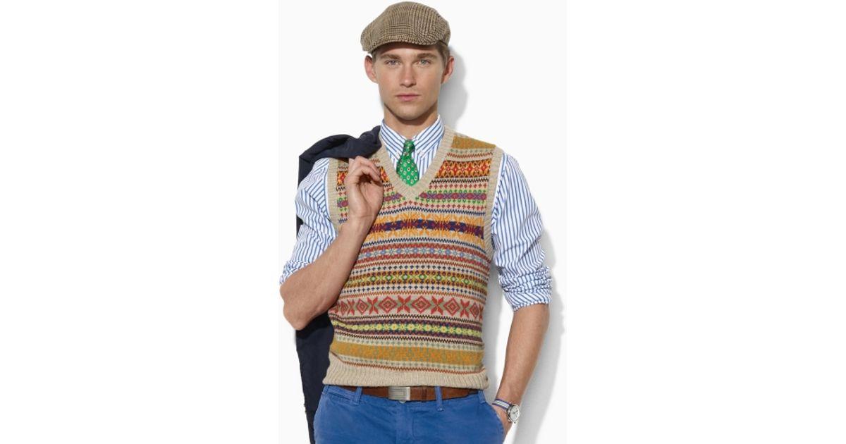Polo ralph lauren Fair Isle Sweater Vest in Natural for Men | Lyst