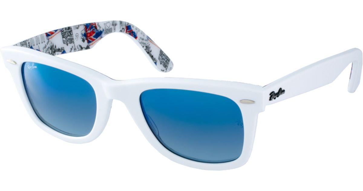6cdd118ec06 Ray-Ban Wayfarer Sunglasses with Internal London Print in White for Men -  Lyst