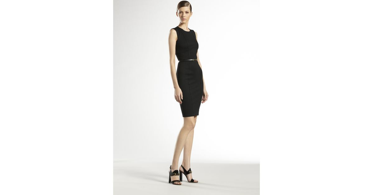 Lyst Gucci Jersey Belted Shift Dress In Black