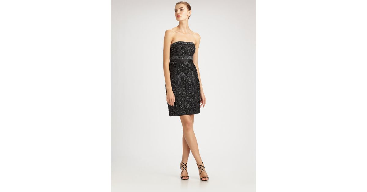 Sue wong Beaded Strapless Dress in Black - Lyst