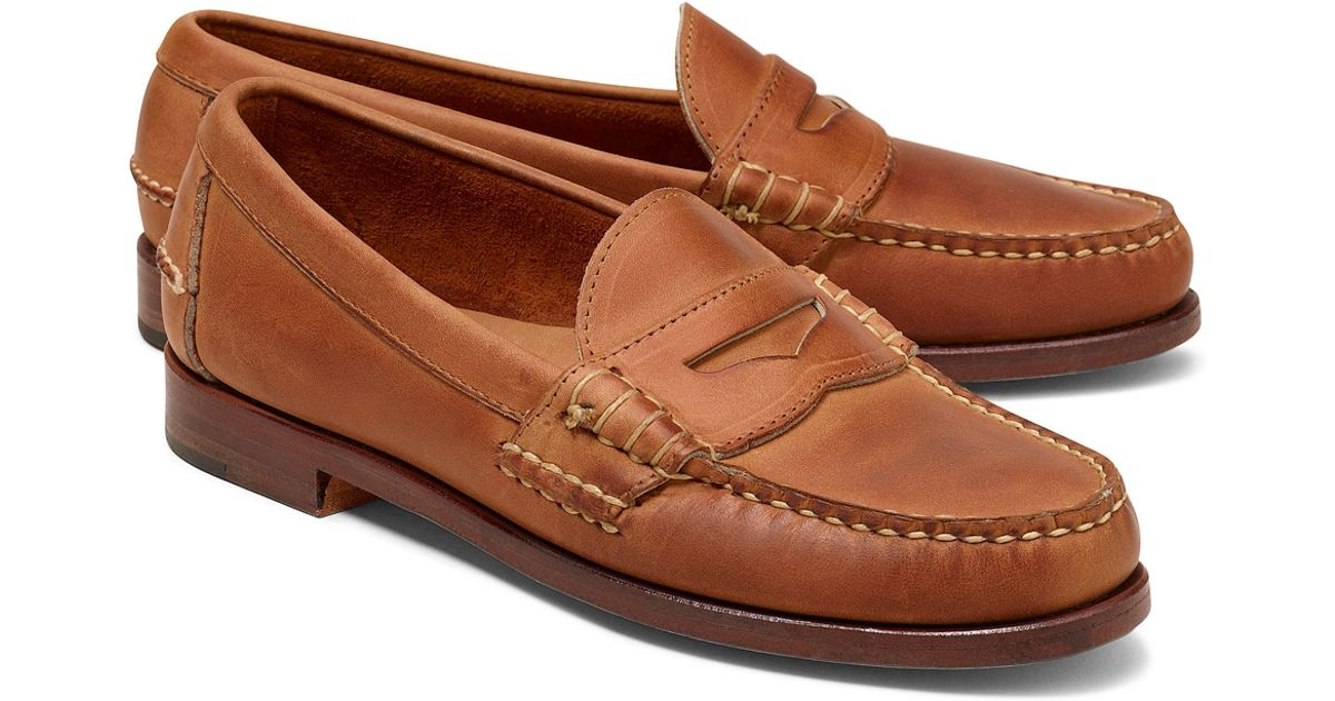 39080f57096 Lyst - Brooks Brothers Rancourt Co Beef Roll Penny Loafers in Brown for Men