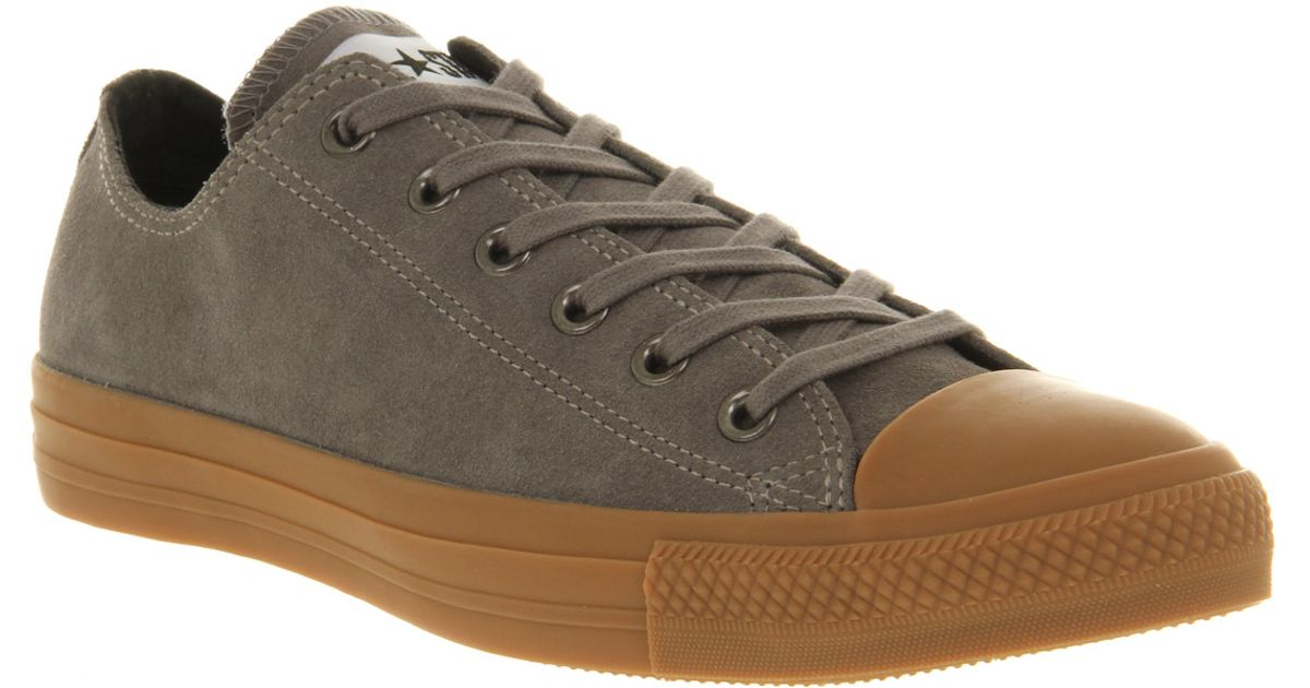 2289f59c853503 Lyst - Converse All Star Ox Low Steal Grey Suede Gum Sole Exclusive in Gray  for Men