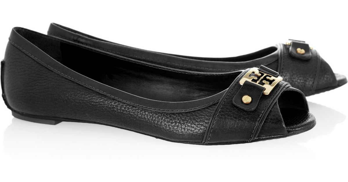 d0b1d8106 ... discount code for lyst tory burch clines textured leather open toe ballet  flats in black f7b52