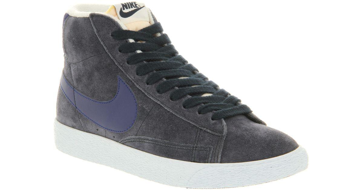 Lyst Nike Blazer Hi Suede Vintage In Obsidian Deep Royal Azul In Vintage Azul 888d4b