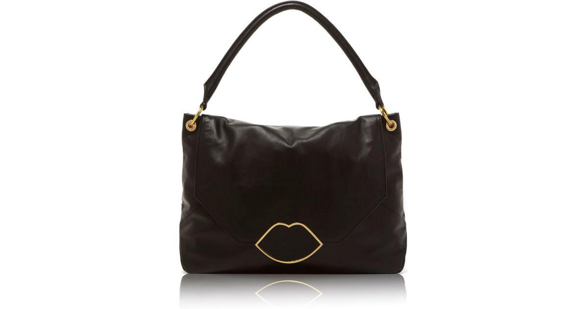 Lyst - Lulu Guinness Black Leather Medium Nicola in Black c36b906ef2273