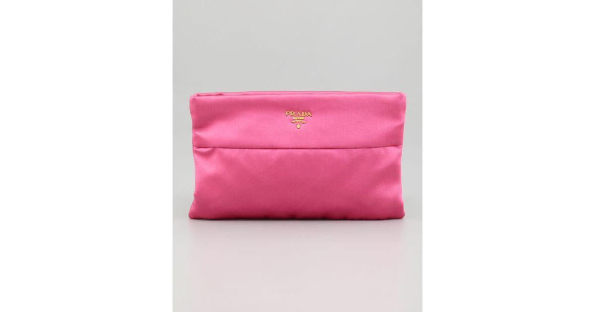 ... hot lyst prada satin clutch bag in pink 7b97e a93d7 a2f946e4b5db9