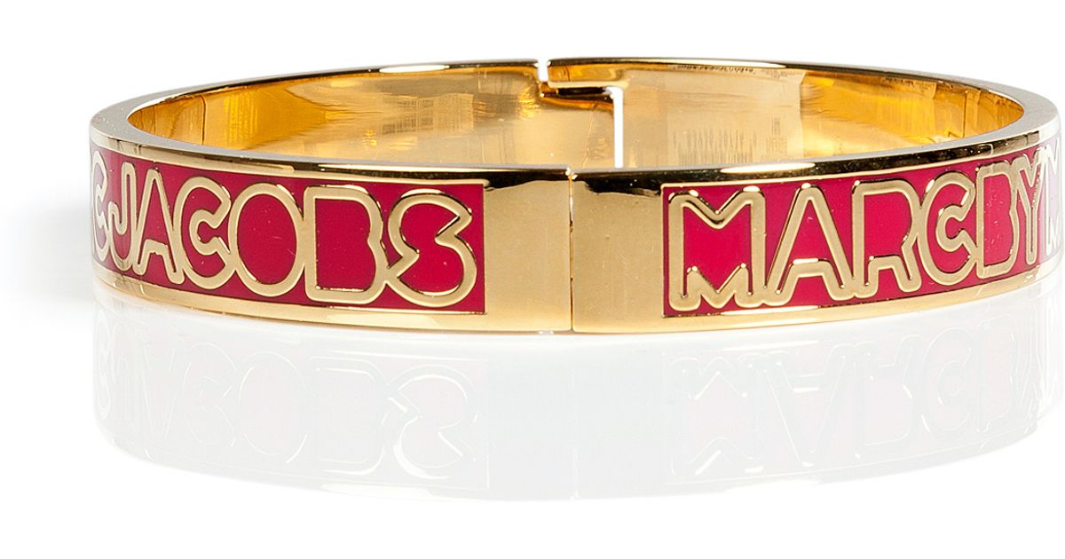 0affacd401bec Lyst - Marc By Marc Jacobs Fuchsia Skinny Hinge Logo Bangle in Red