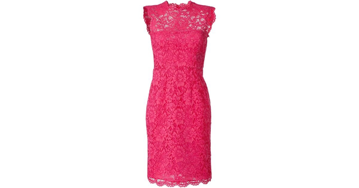 Lyst - Valentino Hot Pink Lace Dress in Pink
