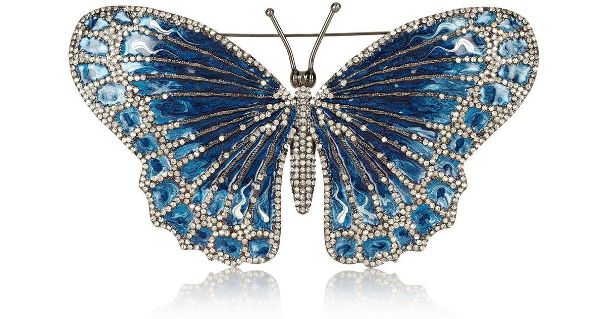 Lyst - Valentino Rhodiumplated Swarovski Crystal Butterfly Brooch in Blue 3e146178e
