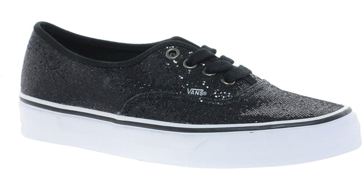 Lyst - Vans Authentic Black Glitter Trainers in Black e2ecf092a0a2