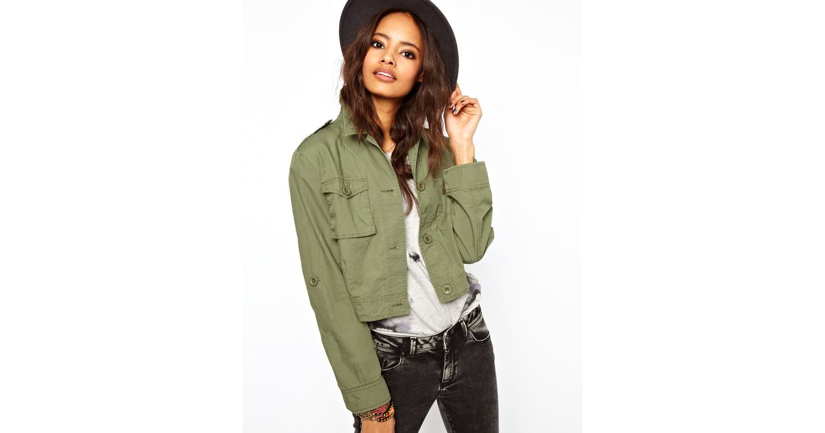 1fef0b25aafa Lyst - ASOS Collection Cropped Utility Jacket in Green