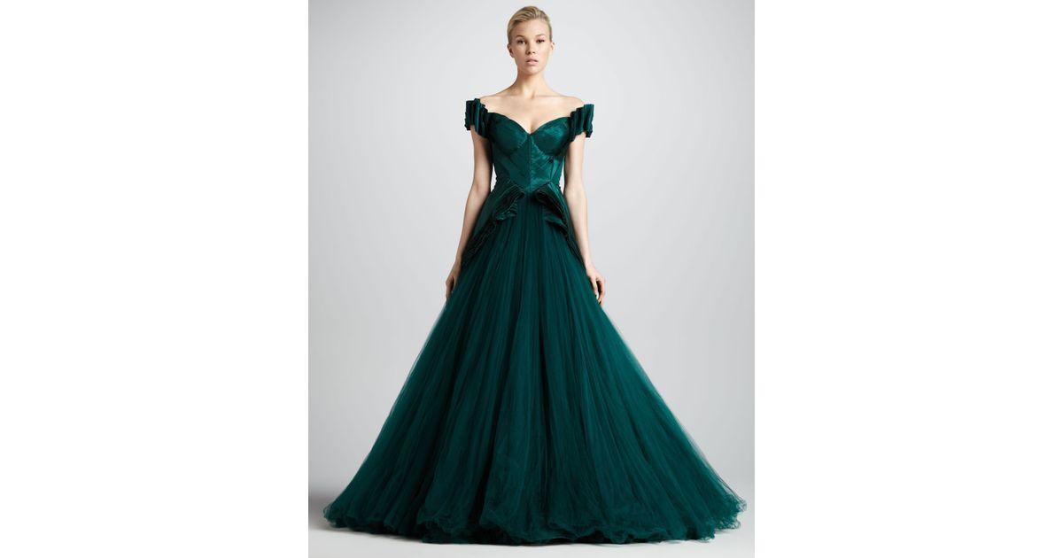 Zac Posen Sweetheartneck Ball Gown in Green - Lyst