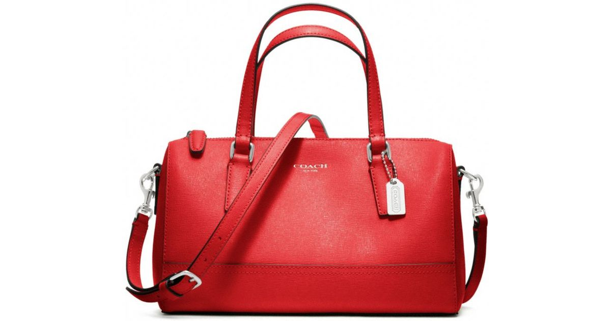 ab6a555600 ... real lyst coach saffiano leather mini satchel in red b5144 7d771